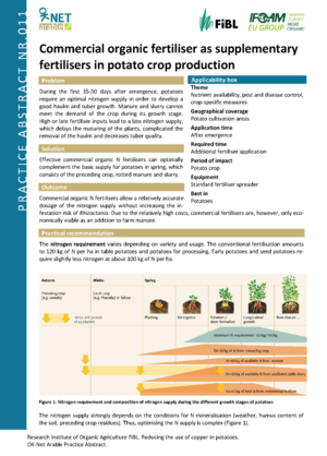 Commercial organic fertiliser as supplementary fertilisers in potato crop production