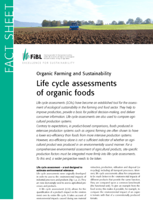Life cycle assessments of organic foods