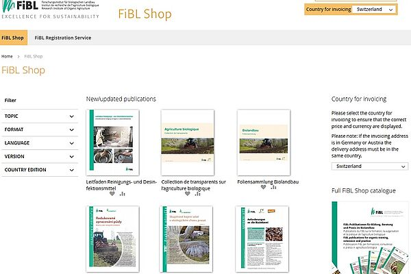 Screenshot of the FiBL shop