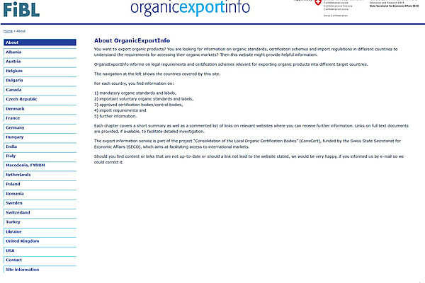 A screenshot of the website OrganicExportInfo