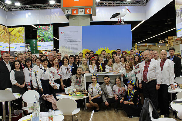Representatives of the organic movement in a group picture in the Ukrainian Pavilion.
