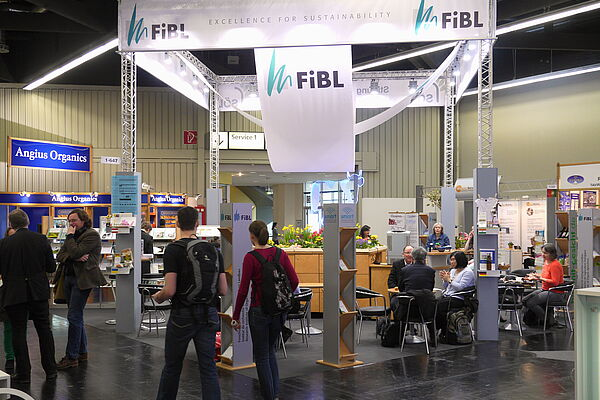 The FiBL stand in Hall 1 at BIOFACH 2014.