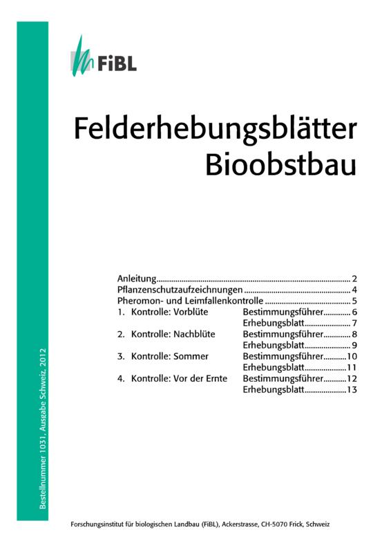 Felderhebungsblätter Bioobstbau