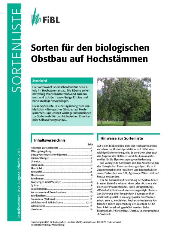 Sorten für den biologischen Obstbau auf Hochstämmen
