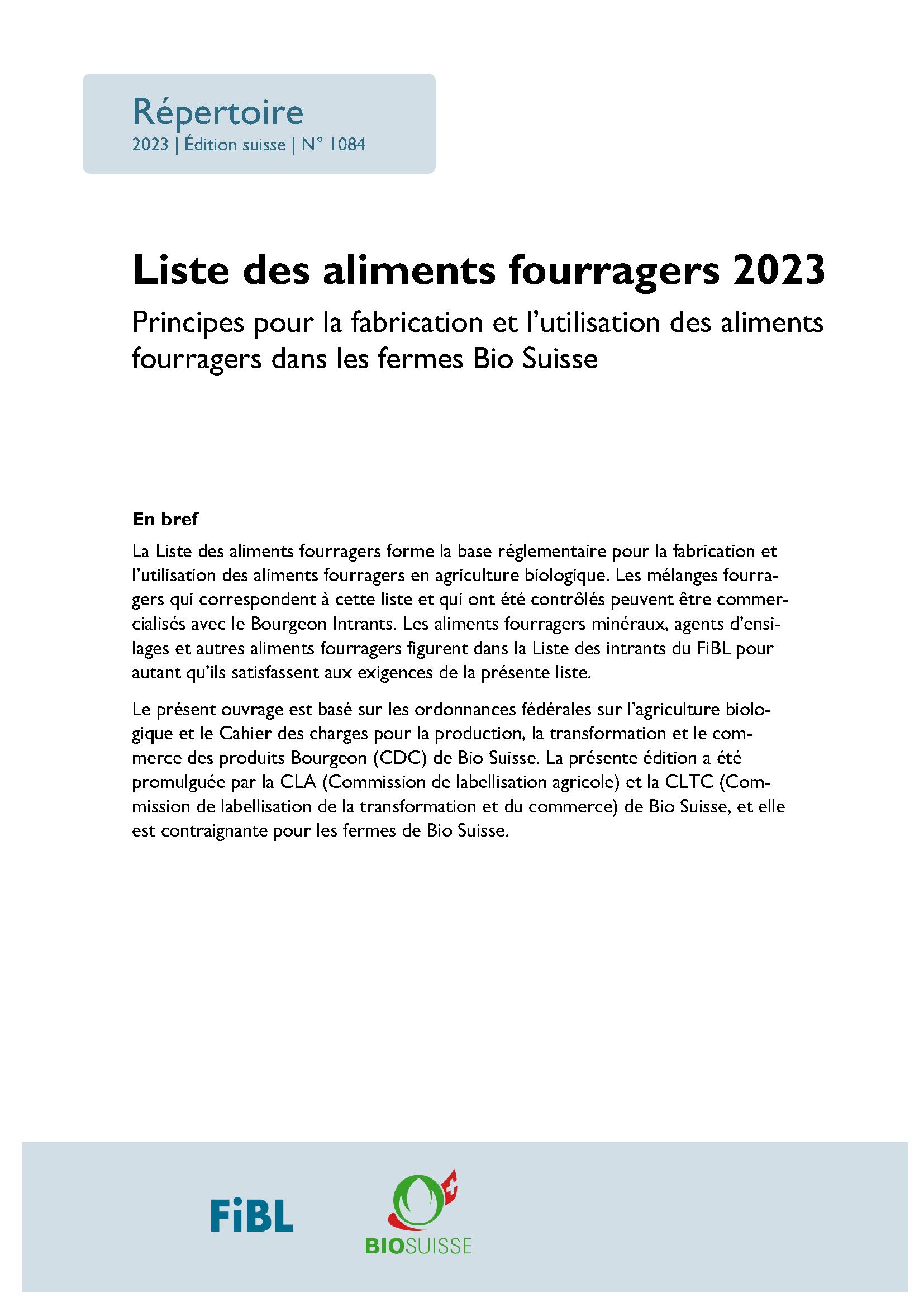 Liste des aliments fourragers 2021