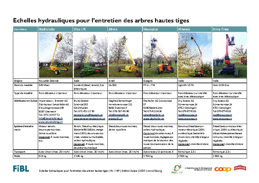 Echelles hydrauliques pour l'entretien des arbres hautes tiges