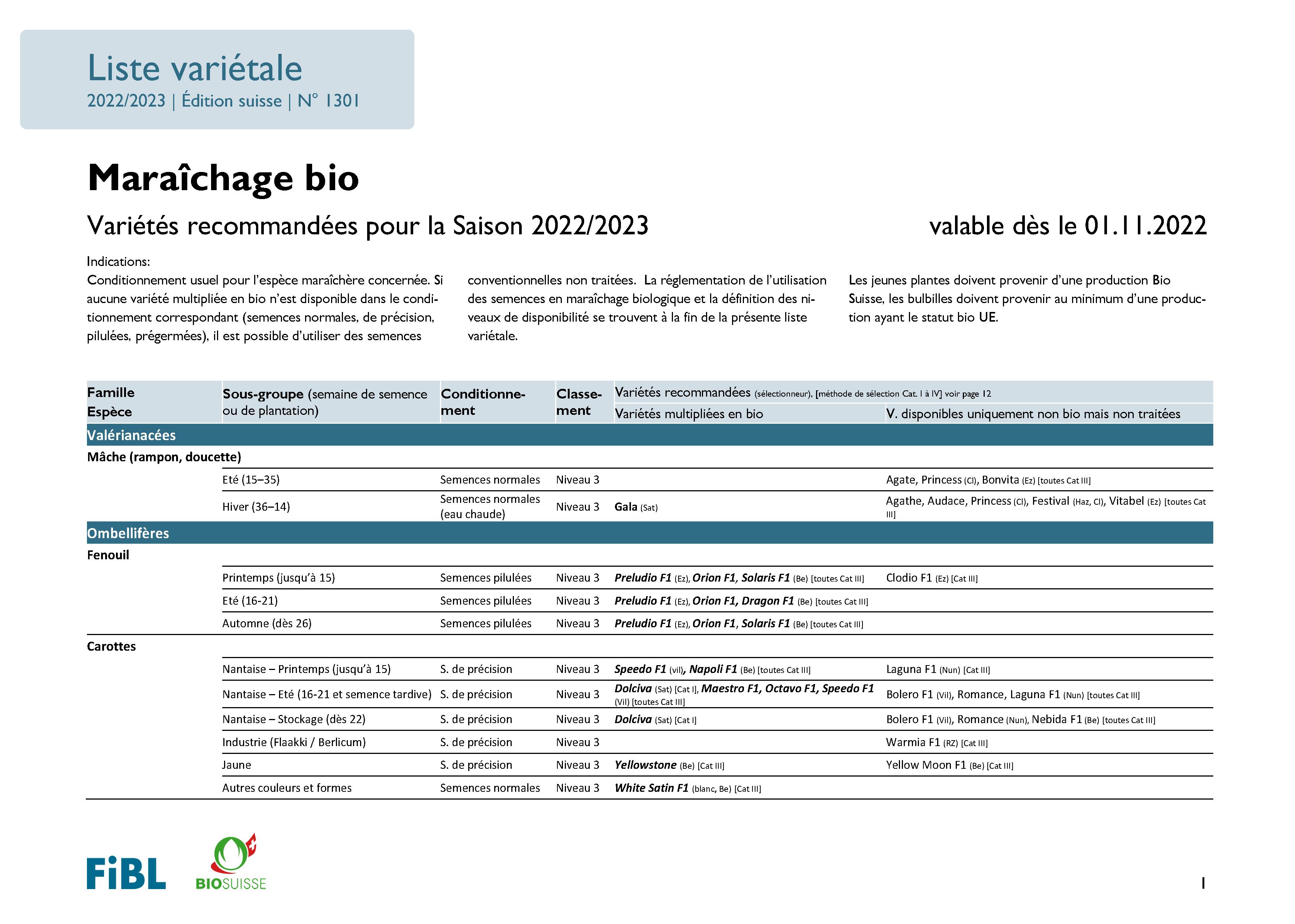 Liste variétale maraîchage bio