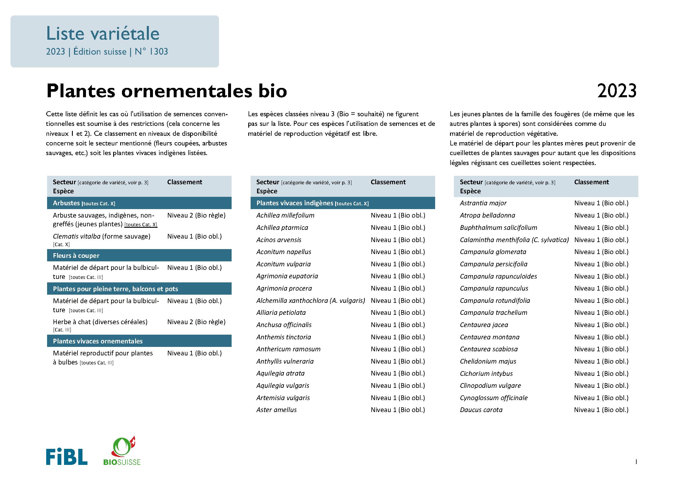 Liste variétale plantes ornementales bio