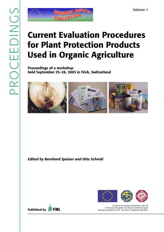 Cover: Current Evaluation Procedures for Plant Protection Products Used in Organic Agriculture