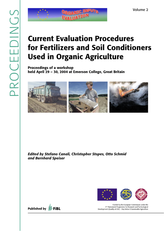 Cover: Current Evaluation Procedures for Fertilizers and Soil Conditioners Used in Organic Agriculture