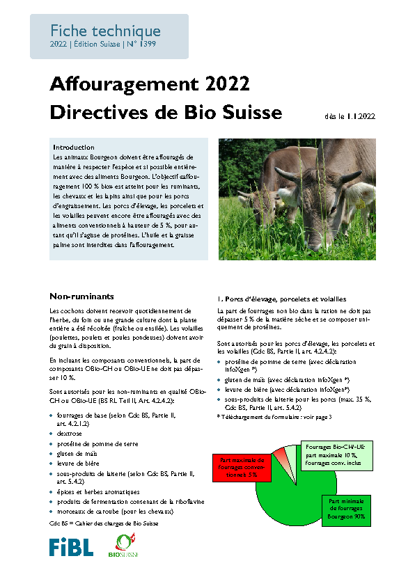 Cover: Affouragement 2020 Directives de Bio Suisse