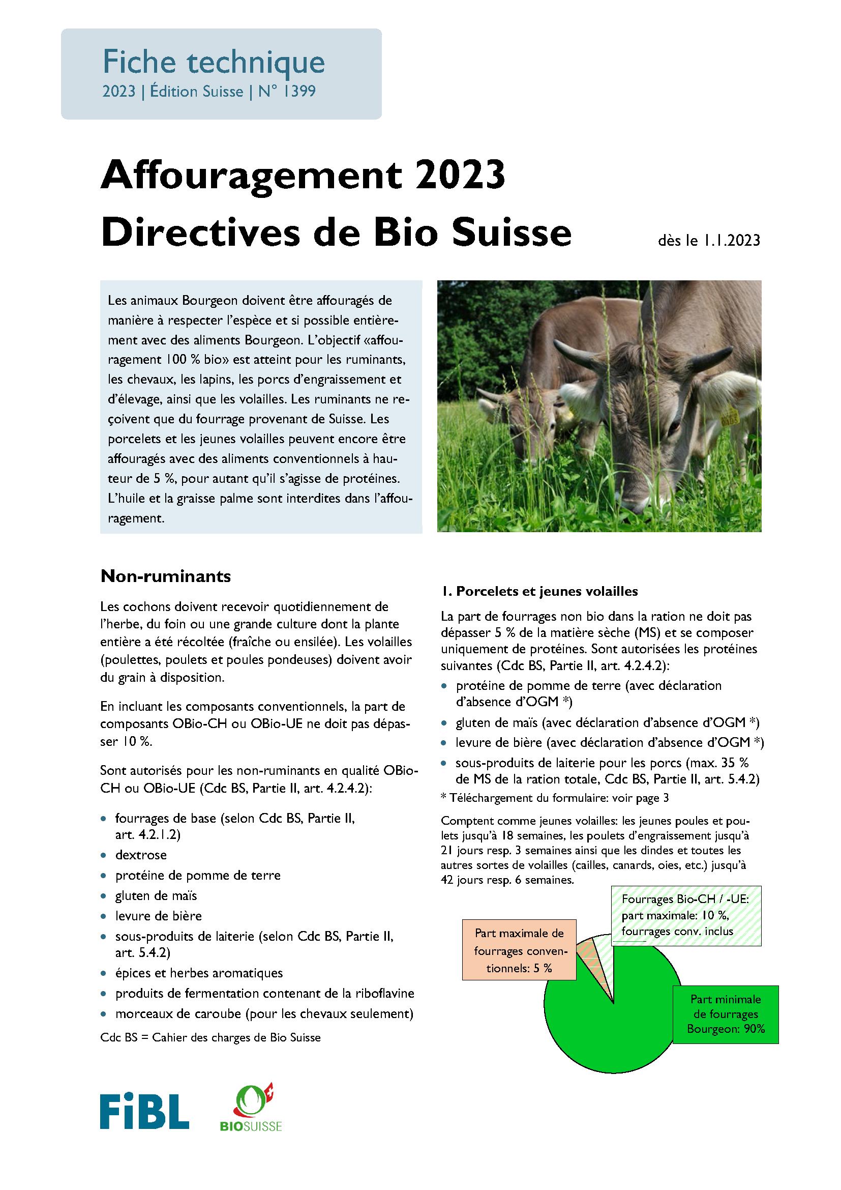 Affouragement 2021 Directives de Bio Suisse