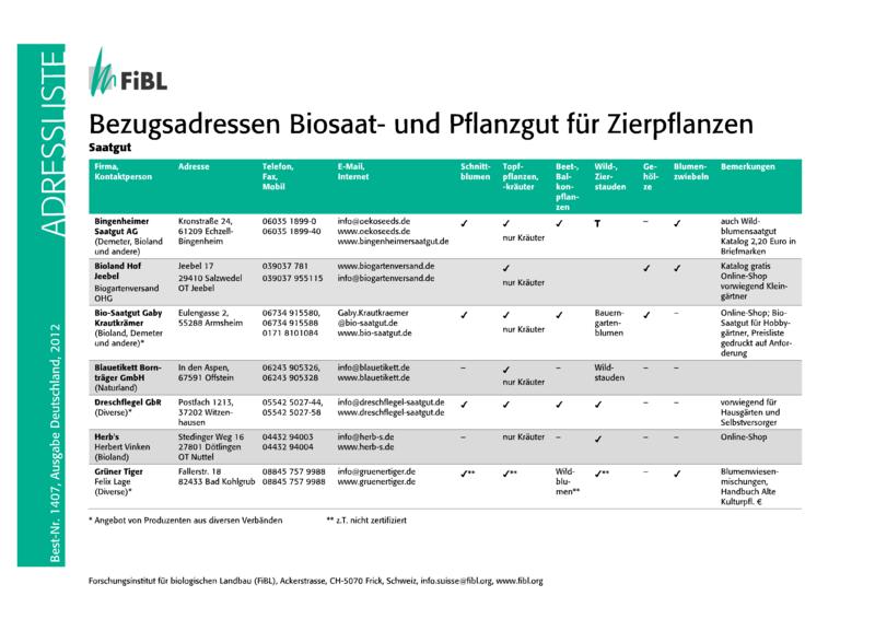 Bezugsadressen Biosaat- und Pflanzgut für Zierpflanzen