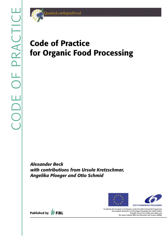 Cover: Code of Practice for Organic Food Processing