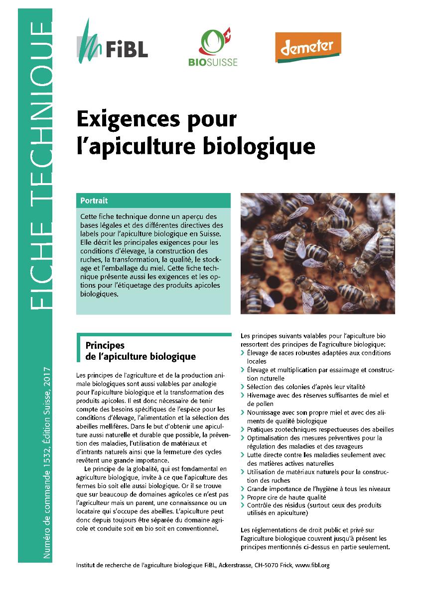 Exigences pour l'apiculture biologique