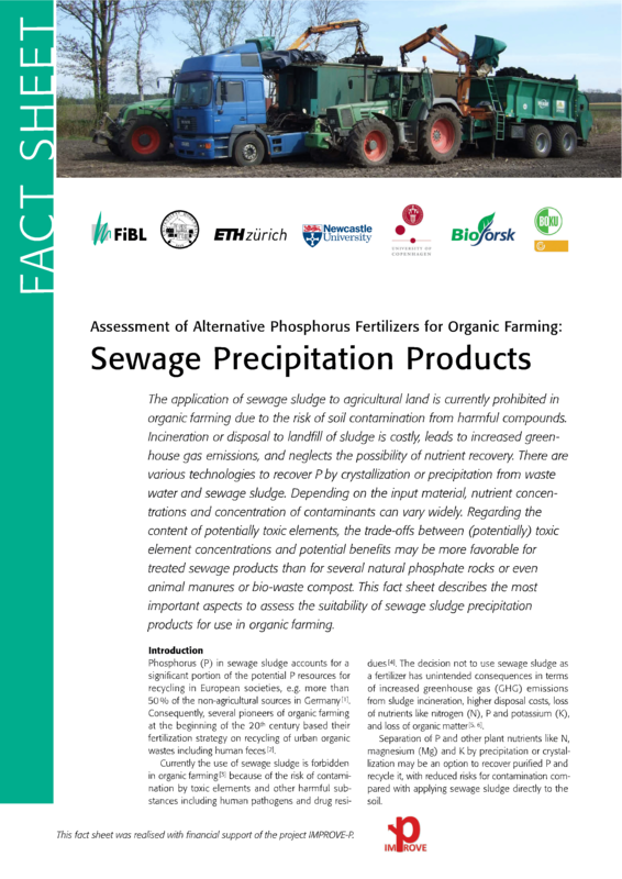 Cover: Assessment of Alternative Phosphorus Fertilizers for Organic Farming: Sewage Precipitation Products
