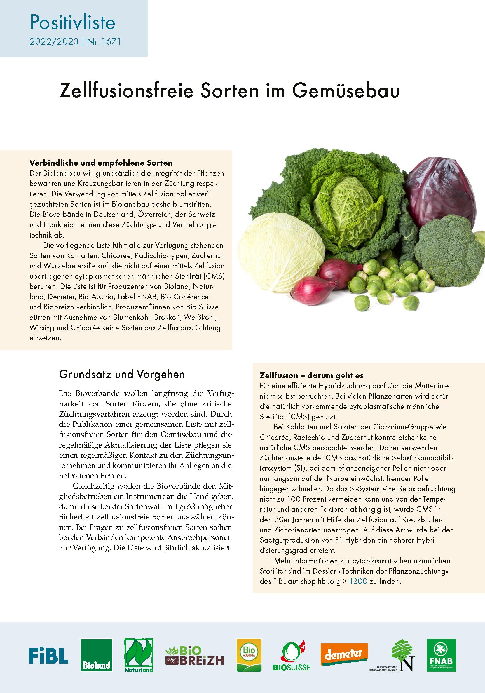 Zellfusionsfreie Sorten im Gemüsebau