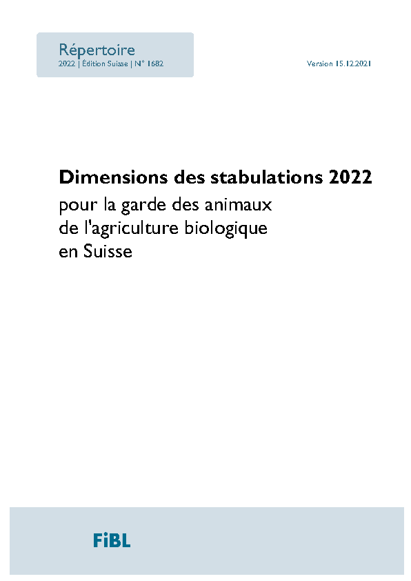 Cover: Dimensions des stabulations 2020