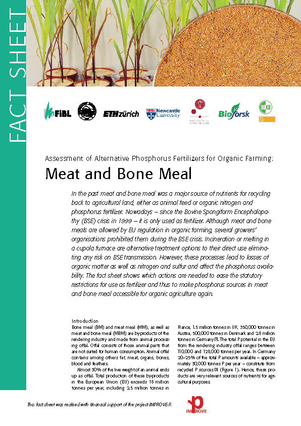 Cover: Assessment of Alternative Phosphorus Fertilizers for Organic Farming: Meat and Bone Meal