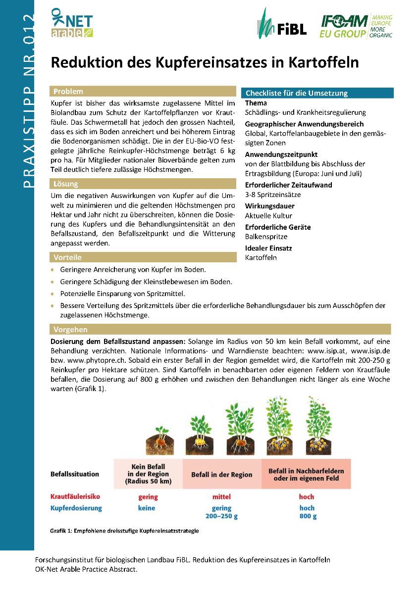 Reduktion des Kupfereinsatzes in Kartoffeln