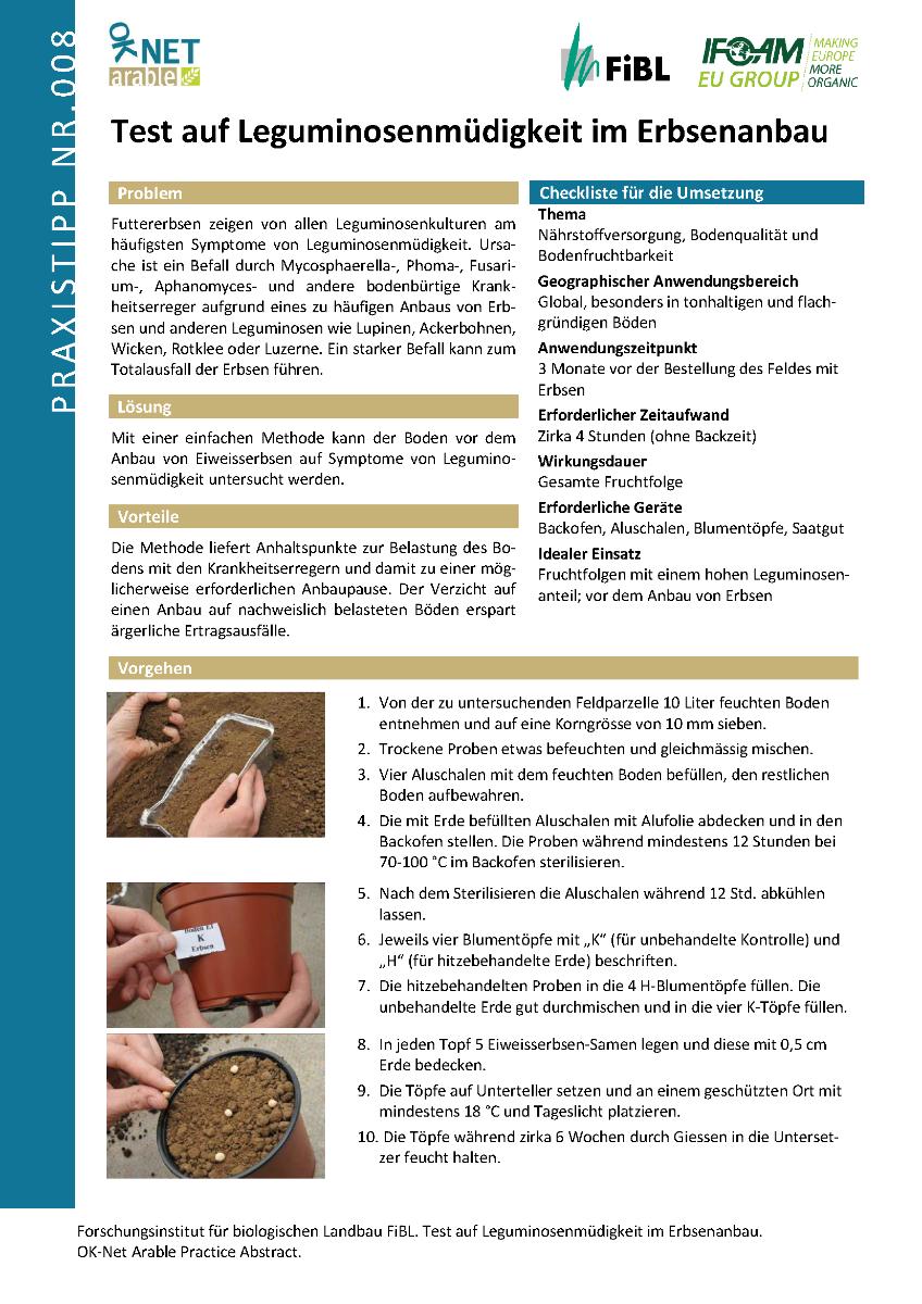 Test auf Leguminosenmüdigkeit im Erbsenanbau